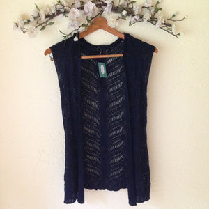 Maurices Navy Crochet Open Front Cardigan.